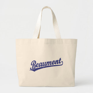 Beaumont script logo in blue tote bags