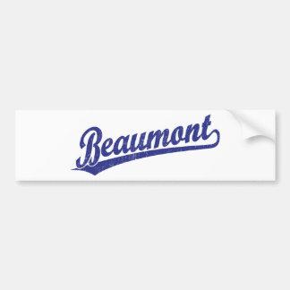 Beaumont script logo in blue bumper sticker
