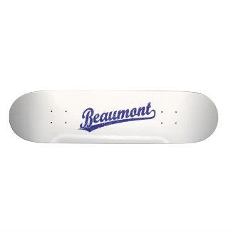 Beaumont script logo in blue skate boards