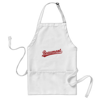Beaumont script logo in red adult apron