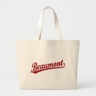 Beaumont script logo in red tote bag