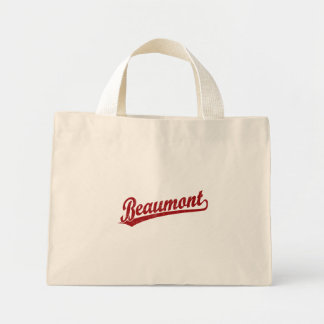 Beaumont script logo in red canvas bag