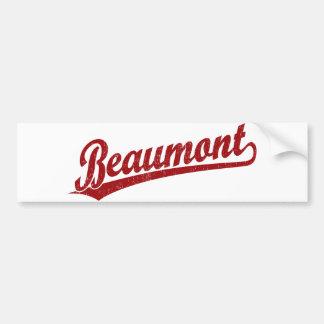 Beaumont script logo in red bumper stickers
