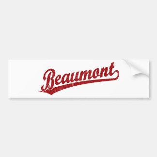 Beaumont script logo in red bumper sticker