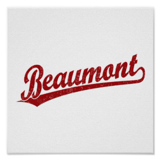 Beaumont script logo in red poster