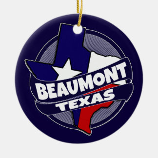 Beaumont Texas flag burst holiday ornament