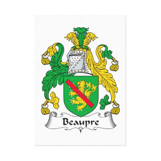 Beaupre Family Crest Gallery Wrap Canvas