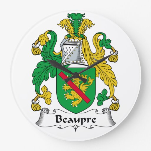 Beaupre Family Crest Clock