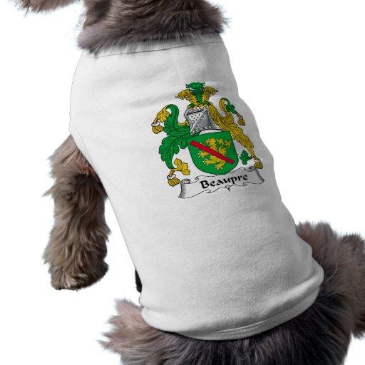Beaupre Family Crest Dog Tee Shirt