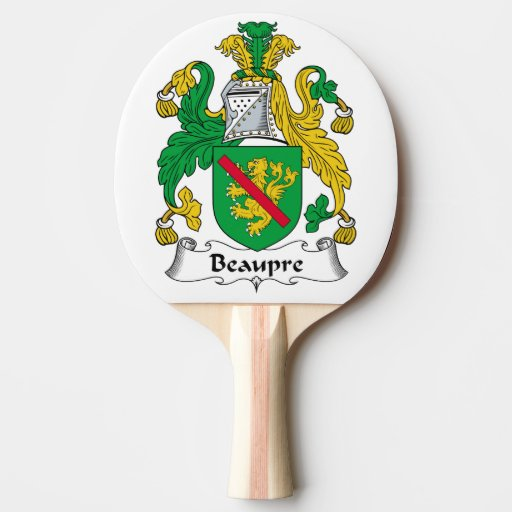 Beaupre Family Crest Ping-Pong Paddle