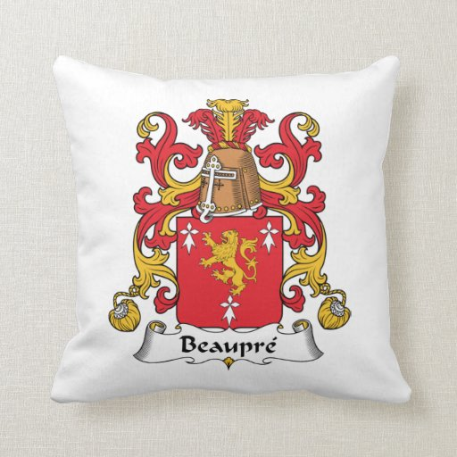 Beaupre Family Crest Throw Pillows