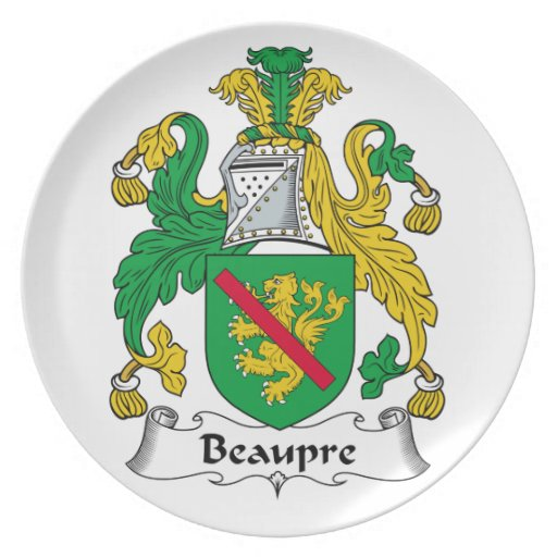 Beaupre Family Crest Party Plate