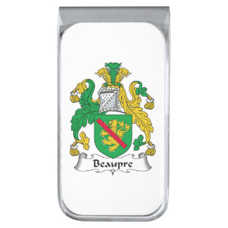 Beaupre Family Crest Silver Finish Money Clip