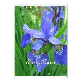 Beautfiul blue iris and green leaves card