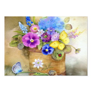 beautful colored floral invite card