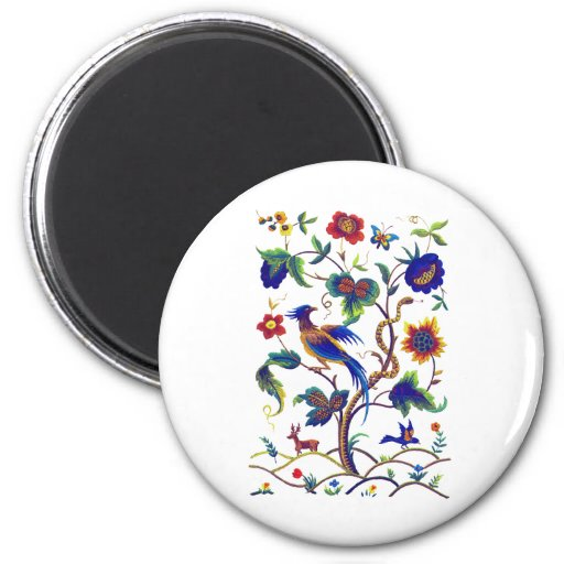 Beautful Jacobean Bird of Paradise Embroidery 2 Inch Round Magnet