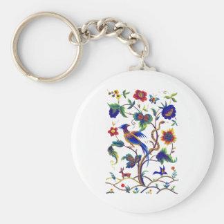 Beautful Jacobean Bird of Paradise Embroidery Basic Round Button Keychain