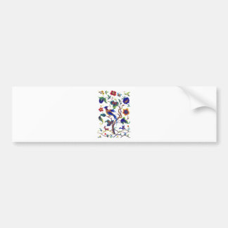 Beautful Jacobean Bird of Paradise Embroidery Bumper Sticker