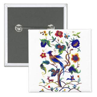 Beautful Jacobean Bird of Paradise Embroidery Button