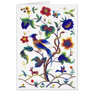 Beautful Jacobean Bird of Paradise Embroidery Card