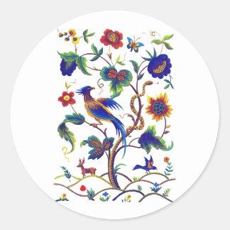 Beautful Jacobean Bird of Paradise Embroidery Classic Round Sticker