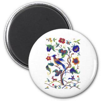 Beautful Jacobean Bird of Paradise Embroidery Magnet
