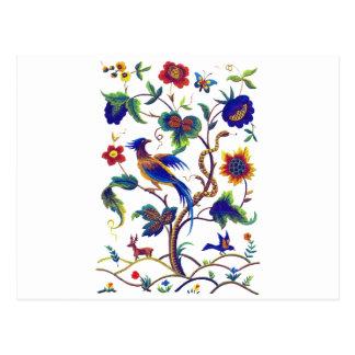 Beautful Jacobean Bird of Paradise Embroidery Postcard