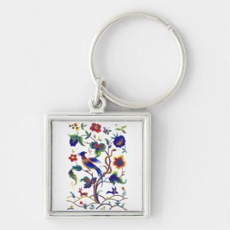 Beautful Jacobean Bird of Paradise Embroidery Silver-Colored Square Keychain