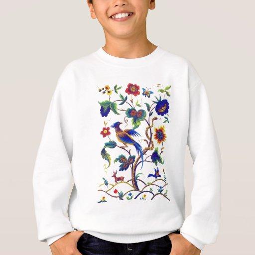 Beautful Jacobean Bird of Paradise Embroidery Sweatshirt
