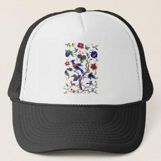 Beautful Jacobean Bird of Paradise Embroidery Trucker Hat