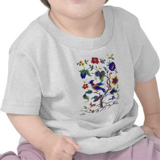 Beautful Jacobean Bird of Paradise Embroidery Tee Shirt