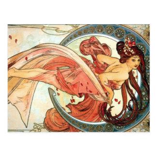 Beautful moon goddess in Red postcard