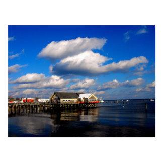 Beautful scenic Maine Harbor postcard