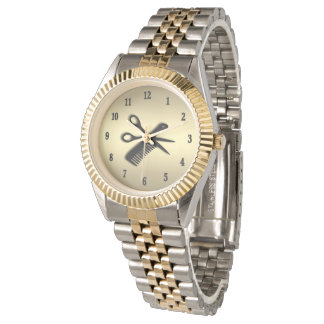 Beautician / Barber Design Gold with Black Numbers Wristwatch