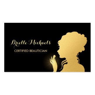 Beautician Black and Faux Gold Woman Makeup Artist Business Card