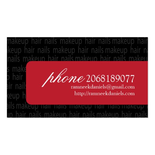 Beautician Business Card (back side)