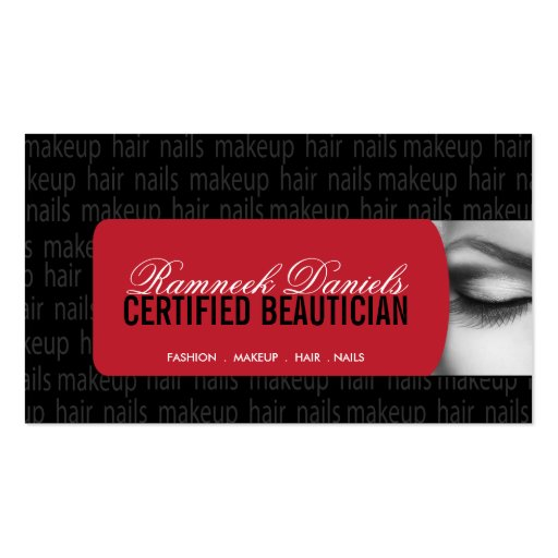 Beautician Business Card (front side)