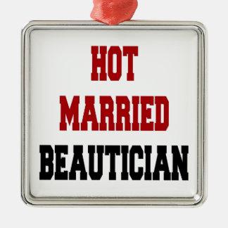 Beautician casado caliente adorno cuadrado plateado