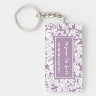 Beautician certificado femenino floral púrpura llavero rectangular acrílico a doble cara