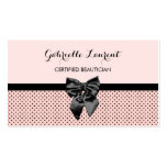 Beautician Chic Parisian Pink Polka Dots Black Bow Double-Sided Standard Business Cards (Pack Of 100)