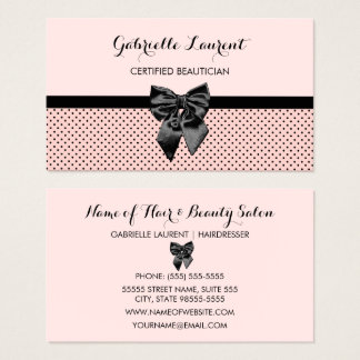 Beautician Chic Parisian Pink Polka Dots Black Bow Business Card
