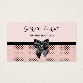 Beautician Chic Parisian Pink Polka Dots Black Bow Business Card
