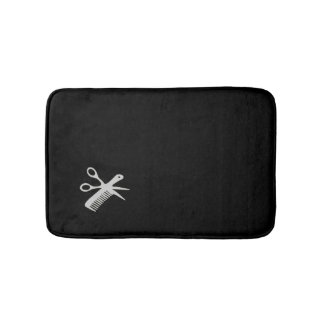 Beautician Design Silver on Black Bath Mat