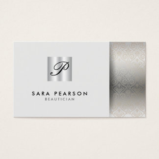 Beautician Elegant Silver Monogram Damask Business Card