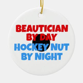 Beautician Hockey Fanatic Double-Sided Ceramic Round Christmas Ornament
