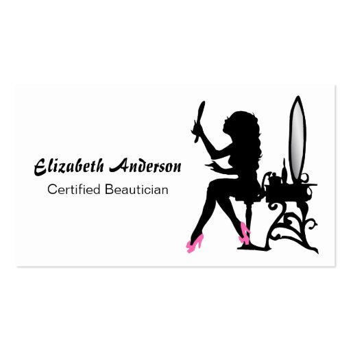 Beautician Pink and Black Girly Girl Hair Stylist Business Card Template