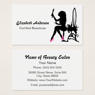 Beautician Pink and Black Girly Girl Hair Stylist Business Card