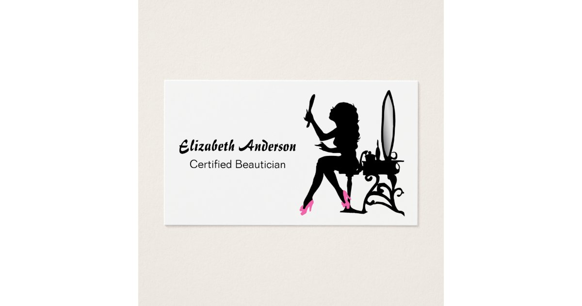 Beautician Pink and Black Girly Girl Hair Stylist Business Card ...