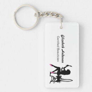 Beautician Pink and Black Girly Girl Hair Stylist Keychain