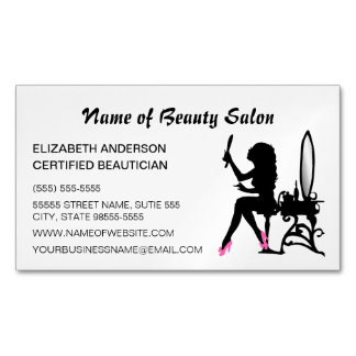 Beautician Pink and Black Girly Girl Hair Stylist Magnetic Business Cards (Pack Of 25)